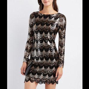 Charlotte Russe Sequin Dress Gold Black XS